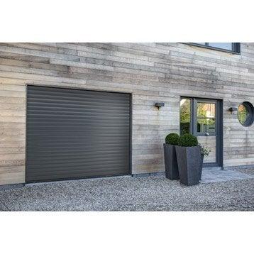 porte de garage enroulement excellence motoris e aluminium gris 200x240cm leroy merlin. Black Bedroom Furniture Sets. Home Design Ideas