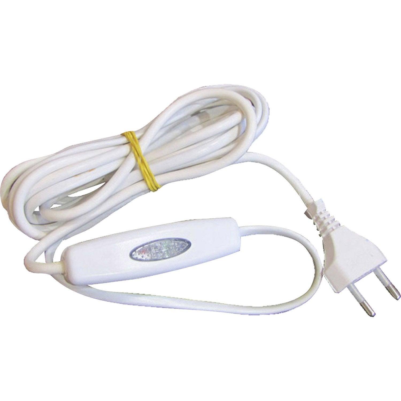cordon et interrupteur variateur tibelec plastique blanc