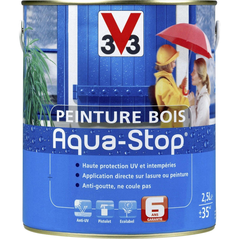 Peinture bois ext rieur aquastop v33 satin bleu patine 2 5l leroy merlin - Peinture v33 aquastop ...