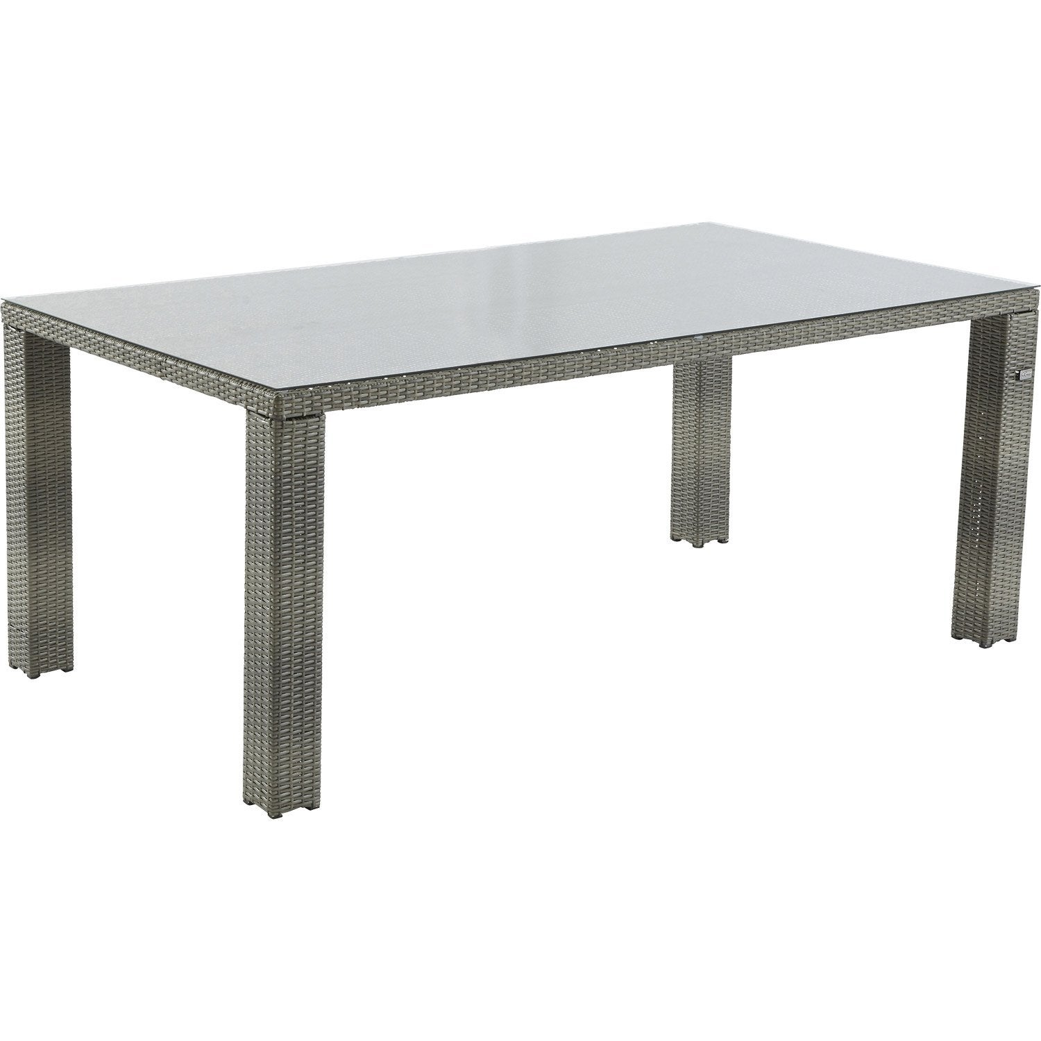 Table de jardin faro rectangulaire gris patin 8 personnes for Table de nuit leroy merlin