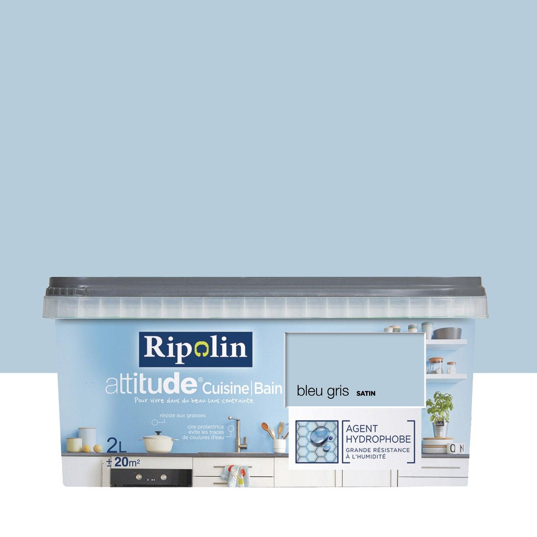 Peinture attitude cuisine et bains ripolin bleu gris 2 l - Peinture aimantee leroy merlin ...