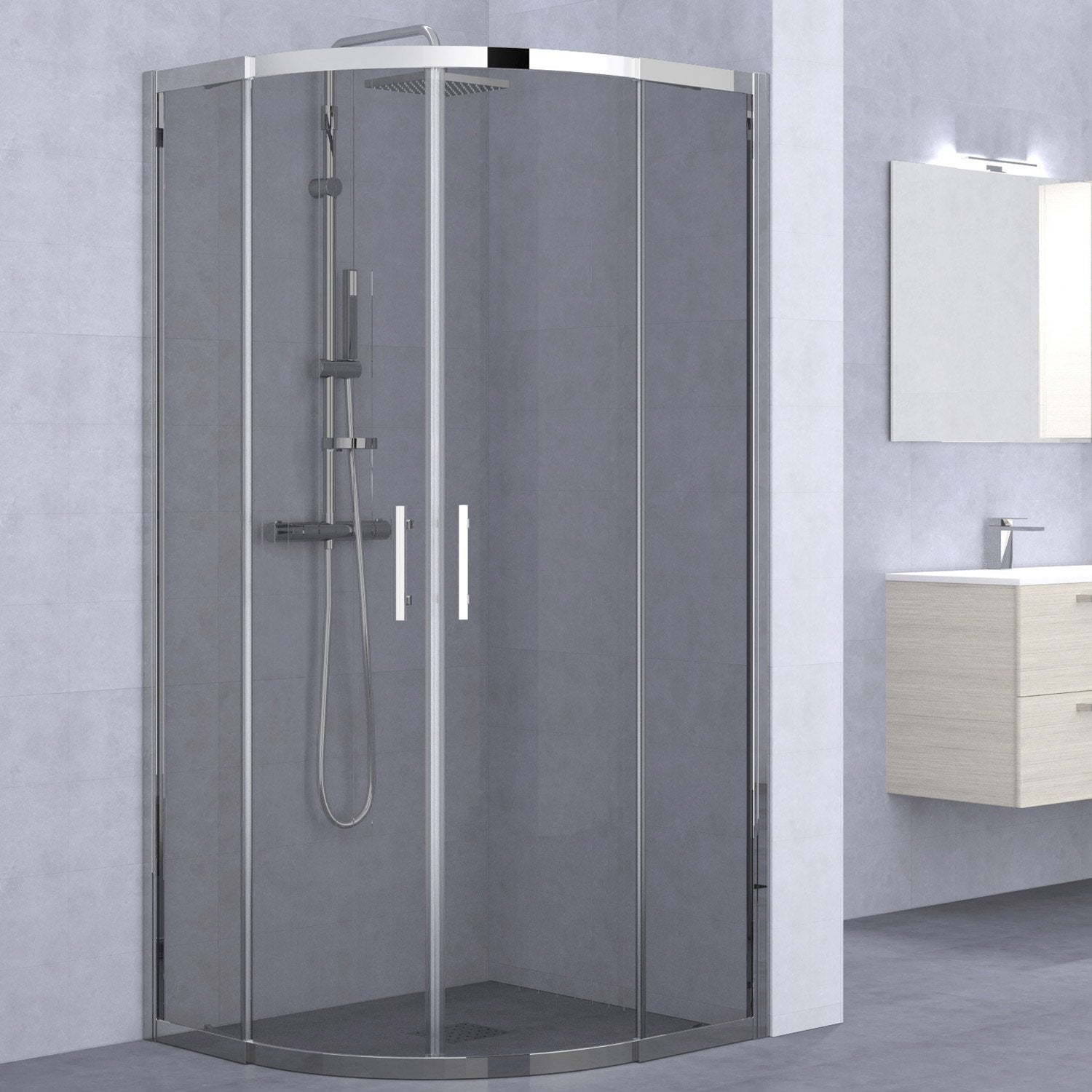 porte de douche coulissante angle 1 4 de cercle x cm chrom elyt leroy merlin. Black Bedroom Furniture Sets. Home Design Ideas
