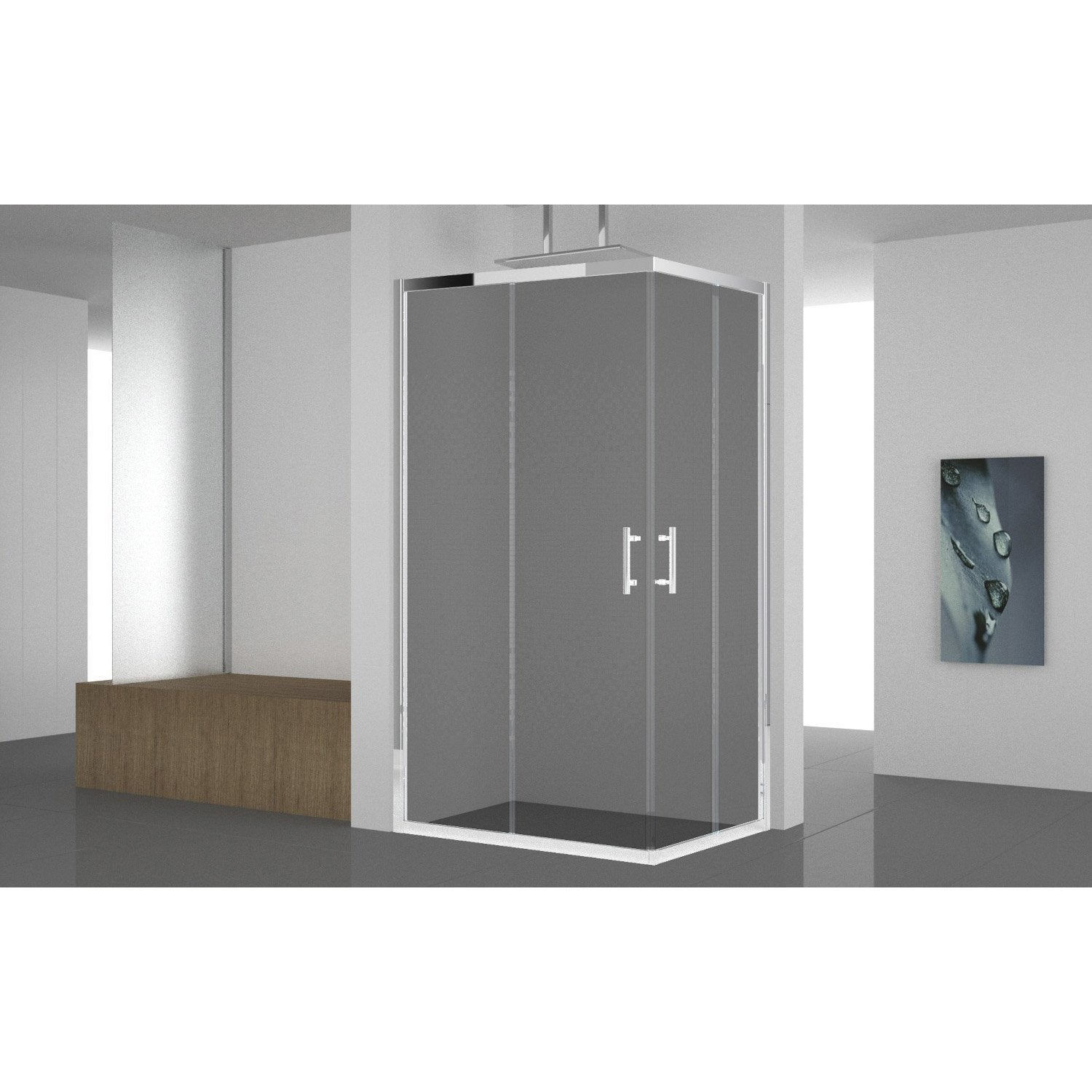 Porte de douche coulissante angle rectangle x cm chrom elyt - Porte coulissante douche 100 ...