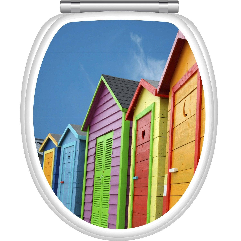 Abattant frein de chute d clipsable multicolore bois for Plan cabine de plage en bois