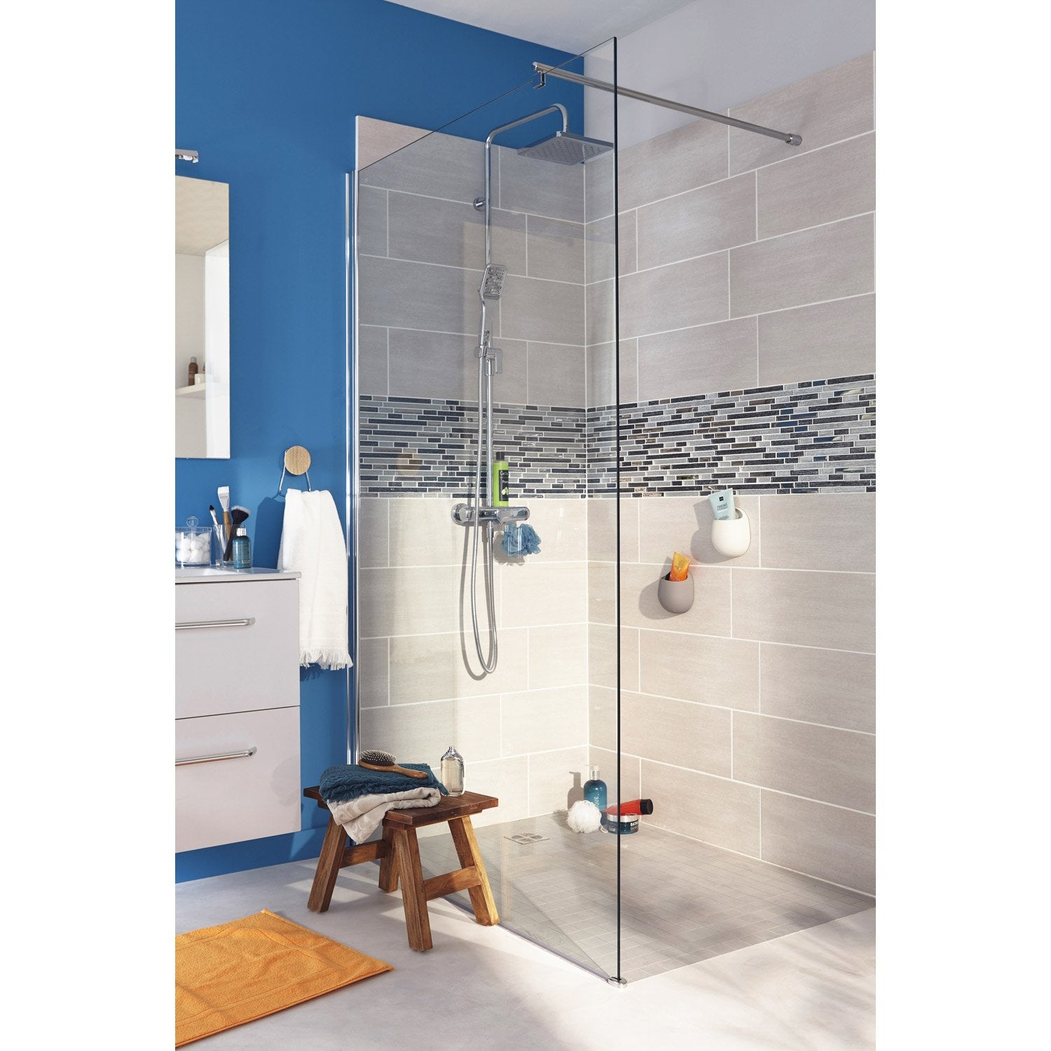 Paroi de douche l 39 italienne cm verre transparent 8 mm open 2 8mm leroy merlin for Photos de douche a l italienne