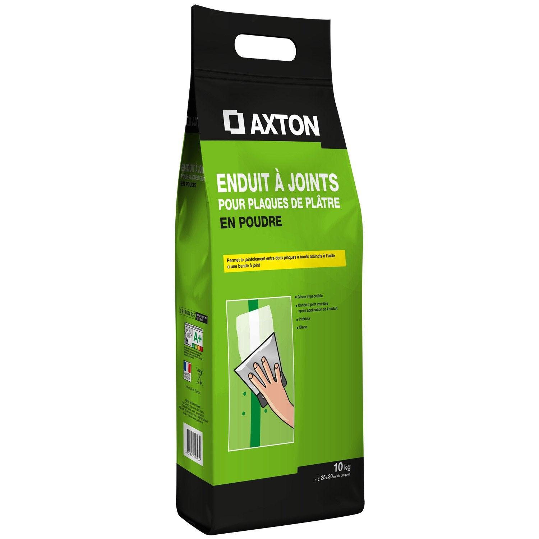 Enduit pour bande joint poudre blanc axton 10 kg for Enduit pour joint plaque de platre