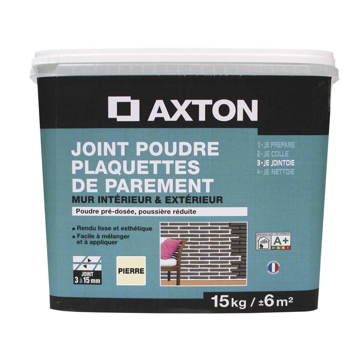Joint en poudre pour plaquette de parement axton gris 15 - Colle pour plaquette de parement exterieur ...