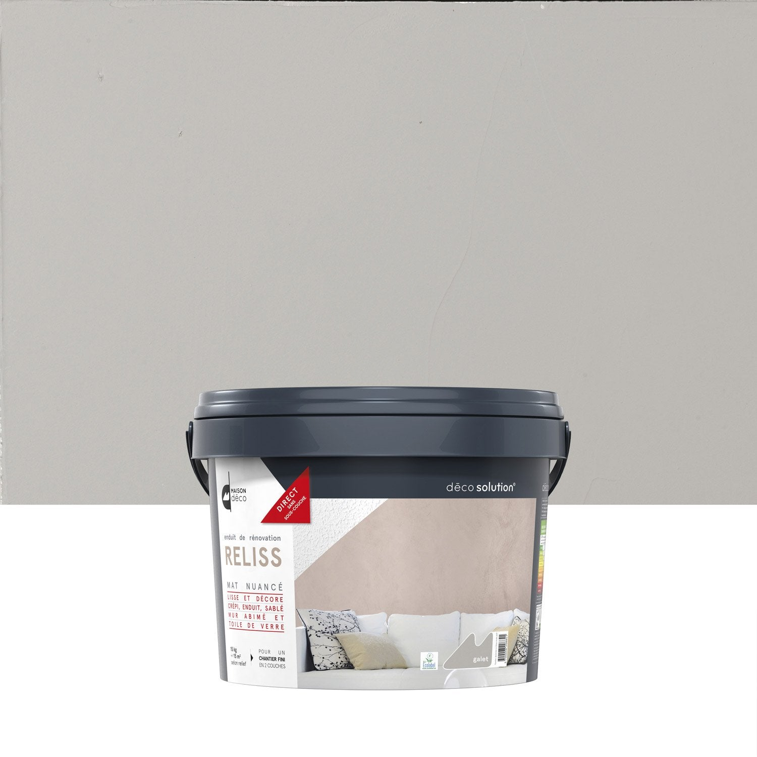 Enduit d coratif reliss 2 en 1 maison deco galet 15 kg for Enduit decoratif mur interieur