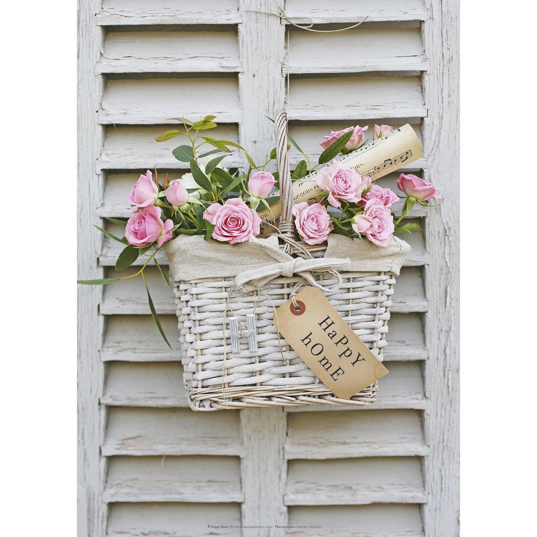 Toile imprim e panier de roses mot happy home 50x70 cm - Toile de terrasse leroy merlin ...