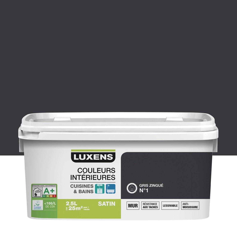 Peinture couleurs int rieures luxens gris zingu 1 2 5 l leroy merlin for Peinture teinte leroy merlin