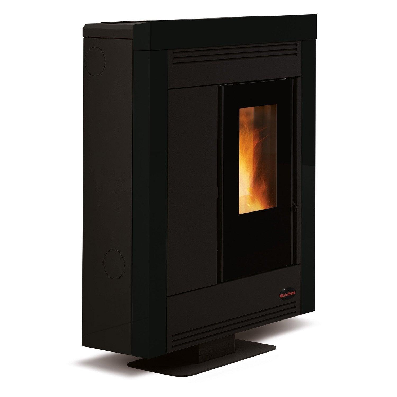 po le granul s extraflame souvenir steel noir 10 2 kw. Black Bedroom Furniture Sets. Home Design Ideas
