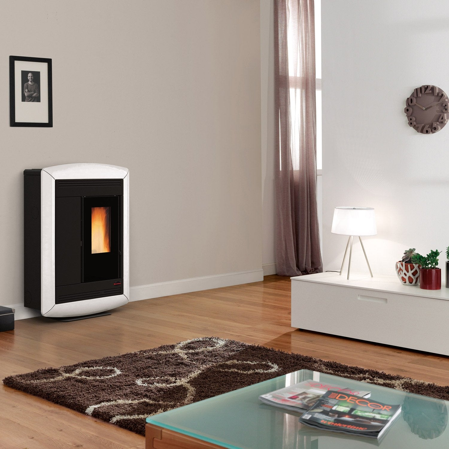 po le granul s extraflame souvenir lux blanc 11 kw leroy merlin. Black Bedroom Furniture Sets. Home Design Ideas