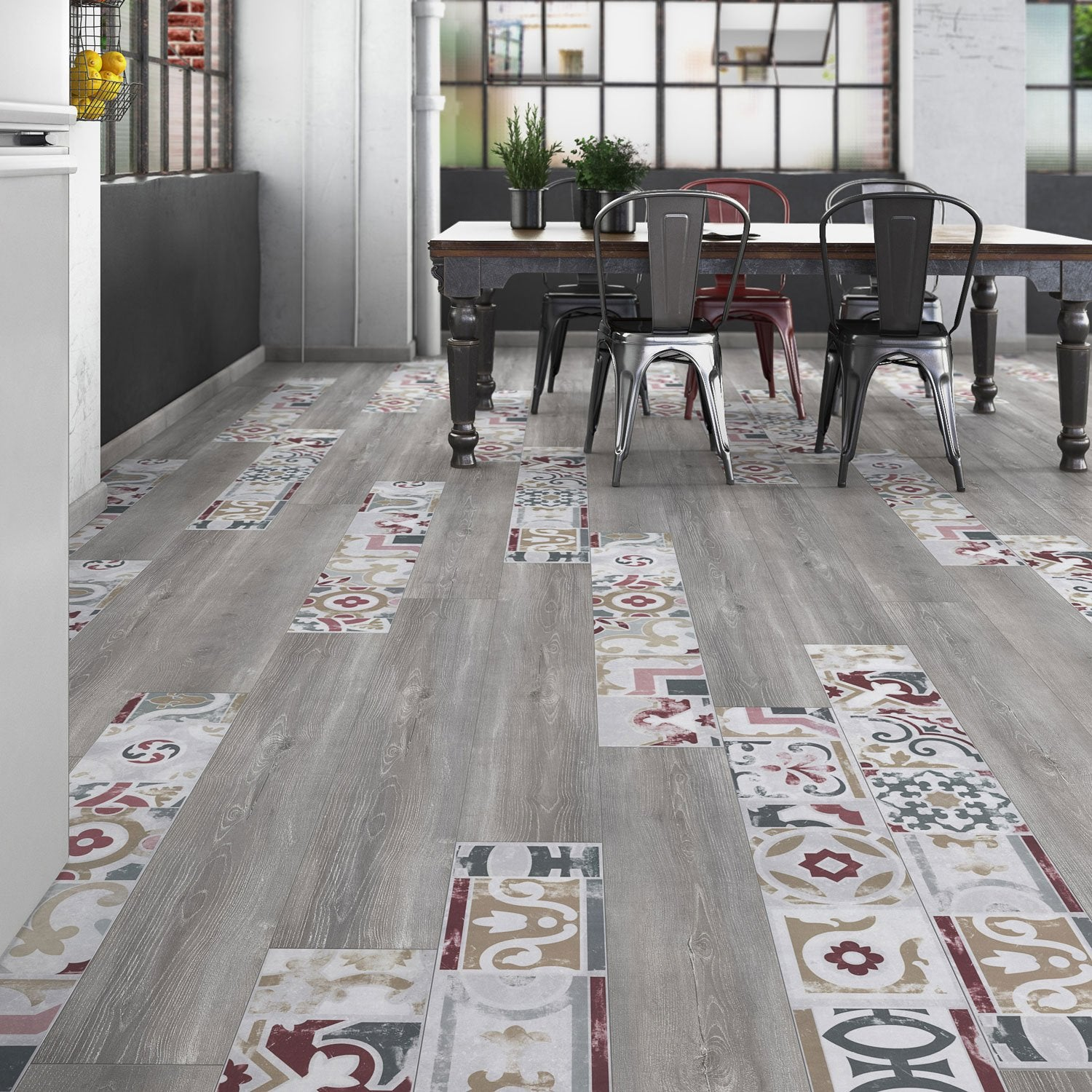 Sol stratifi cr ativ 39 composition mix bois carreaux de - Parquet stratifie salle de bain leroy merlin ...