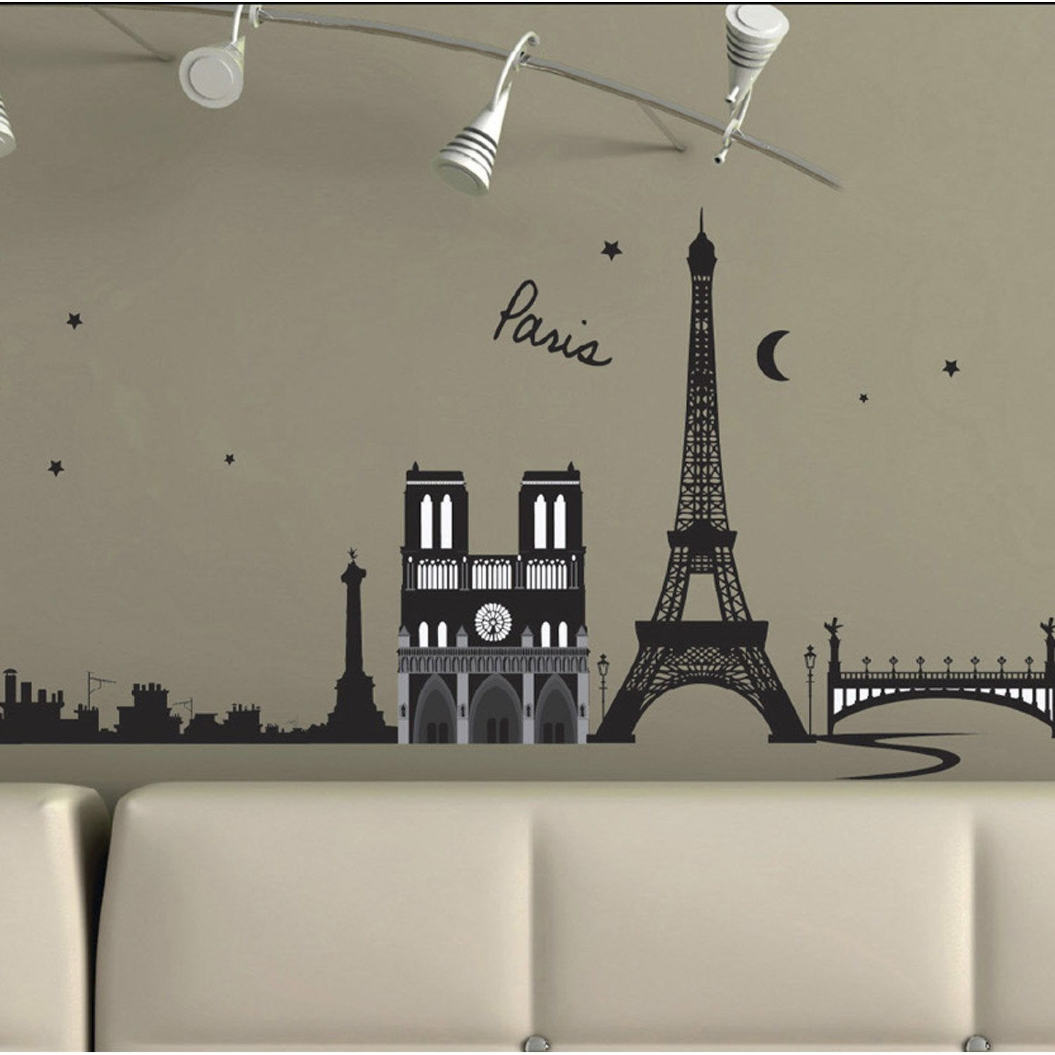 sticker paris france 50 cm x 70 cm leroy merlin. Black Bedroom Furniture Sets. Home Design Ideas