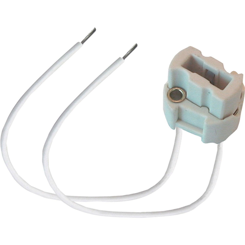 Douille g9 tibelec plastique blanc 100 watts leroy merlin - Douille plastique ampoule ...