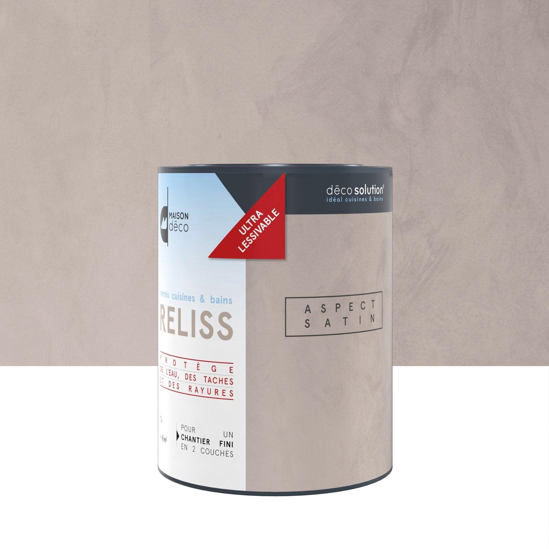 Peinture effet vernis cuisines et bains reliss maison deco transparent 1 l leroy merlin for Enduit de renovation reliss