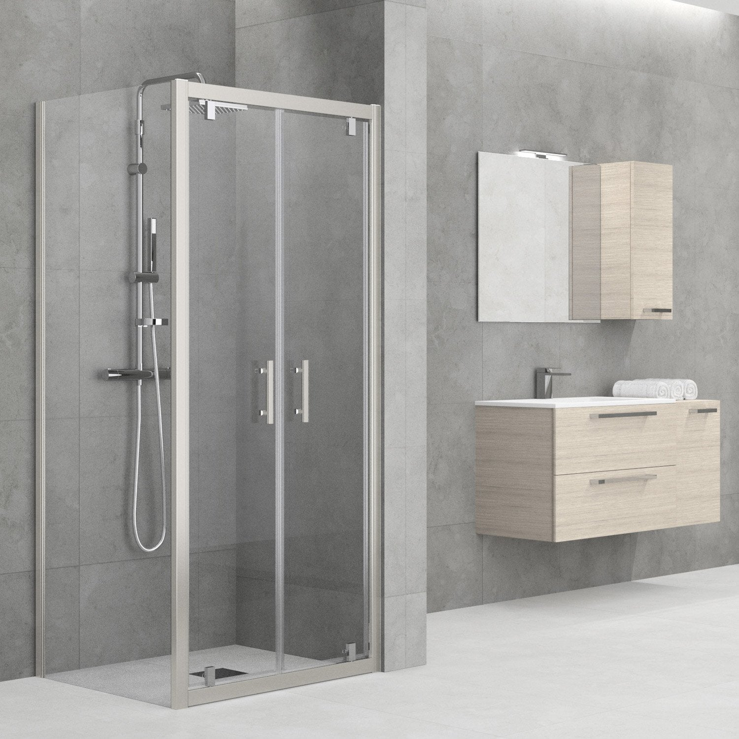 Porte de douche battante 90 96 cm profil chrom elyt leroy merlin for Porte de garage battante