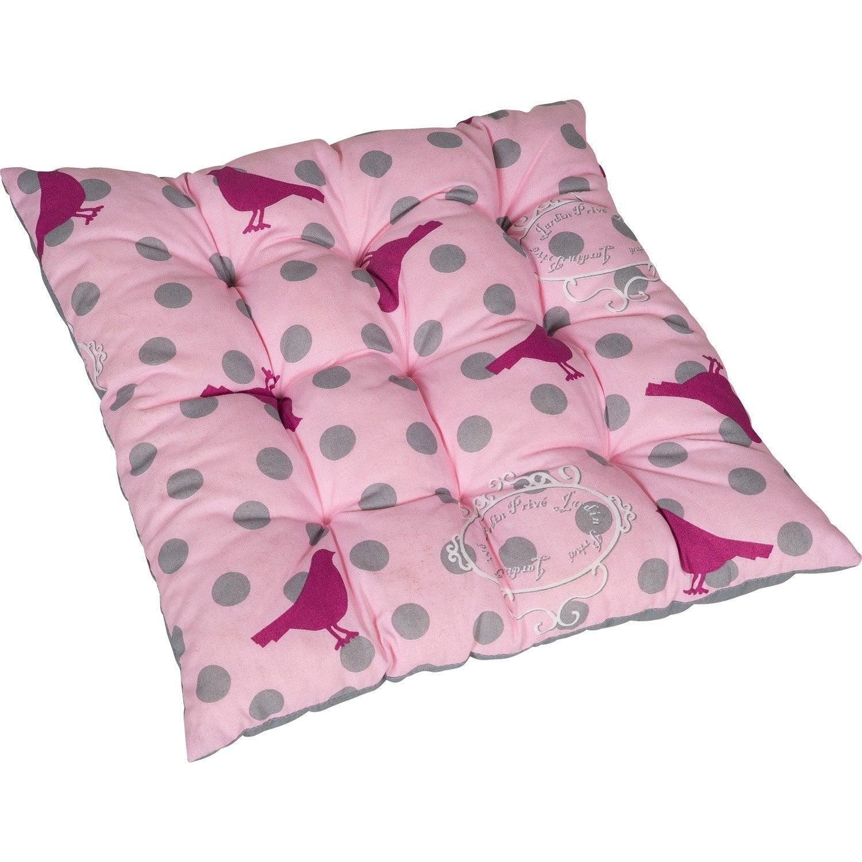 coussin d 39 assise de chaise ou de fauteuil rose birdy rose jardin prive leroy merlin. Black Bedroom Furniture Sets. Home Design Ideas