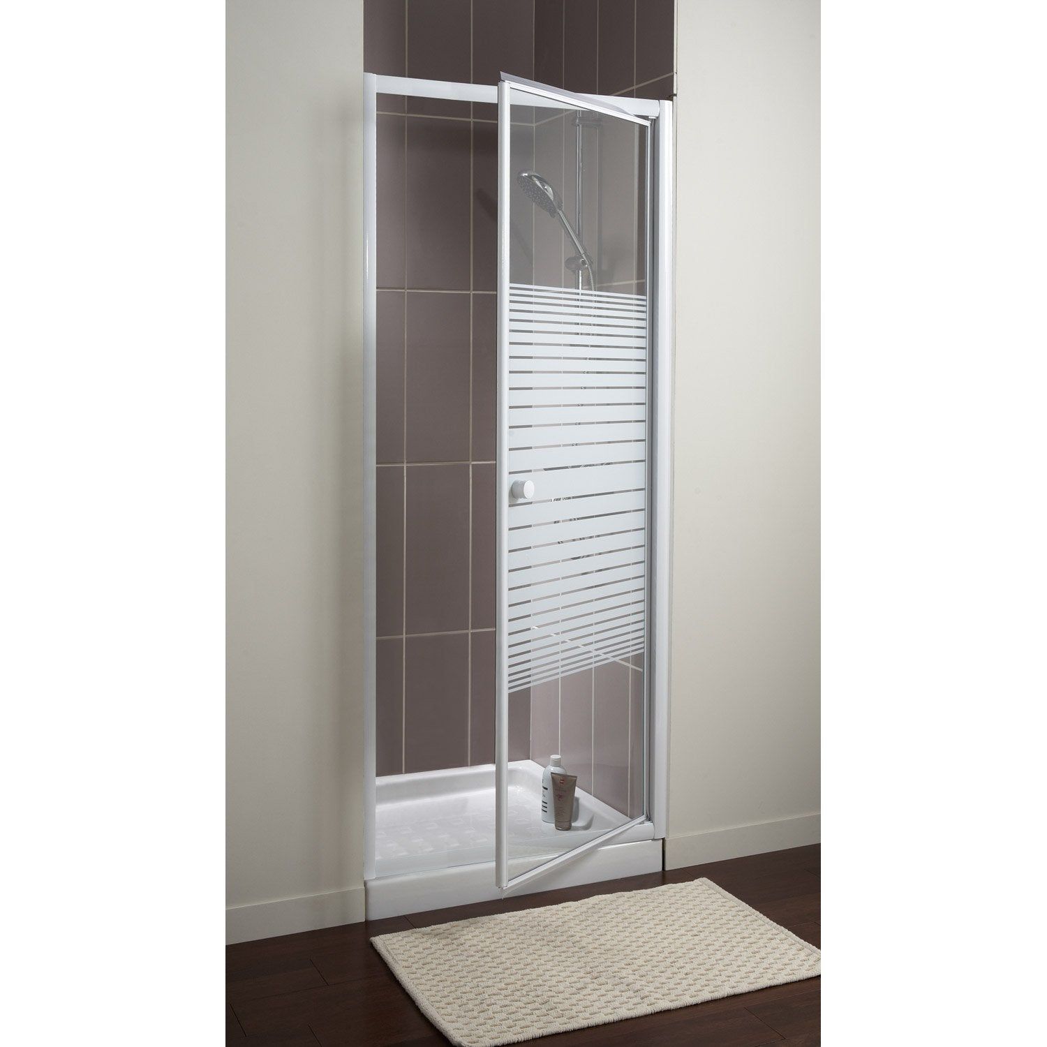 porte de douche pivotante 68 71 cm profil blanc primo leroy merlin. Black Bedroom Furniture Sets. Home Design Ideas