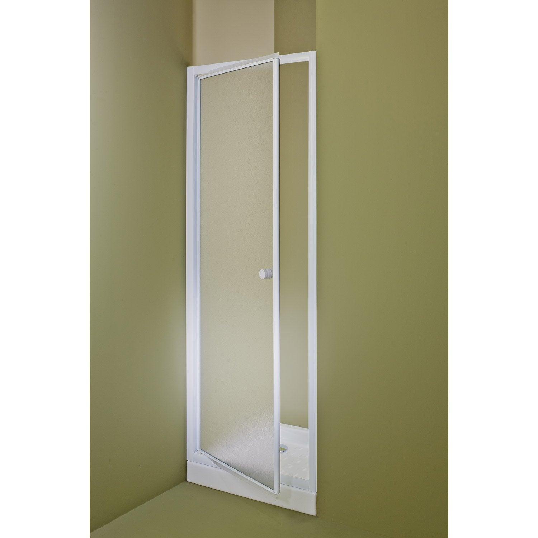 Porte de douche pivotante 78 81 cm profil blanc primo - Accessoire douche leroy merlin ...