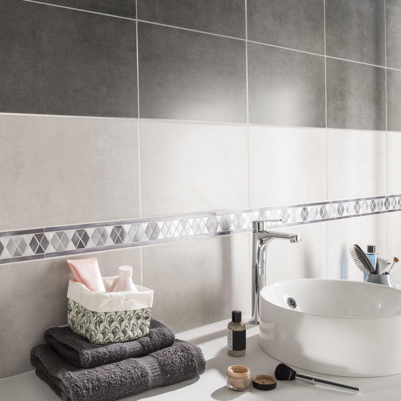 Listel techno hexa gris noir l x cm leroy merlin for Salle de bain carrelage gris noir