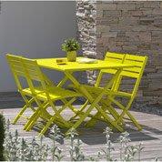 Salon de jardin Marius jaune, 4 personnes