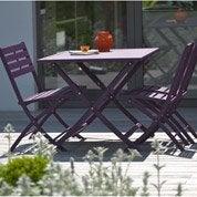 Salon de jardin Marius aubergine, 4 personnes