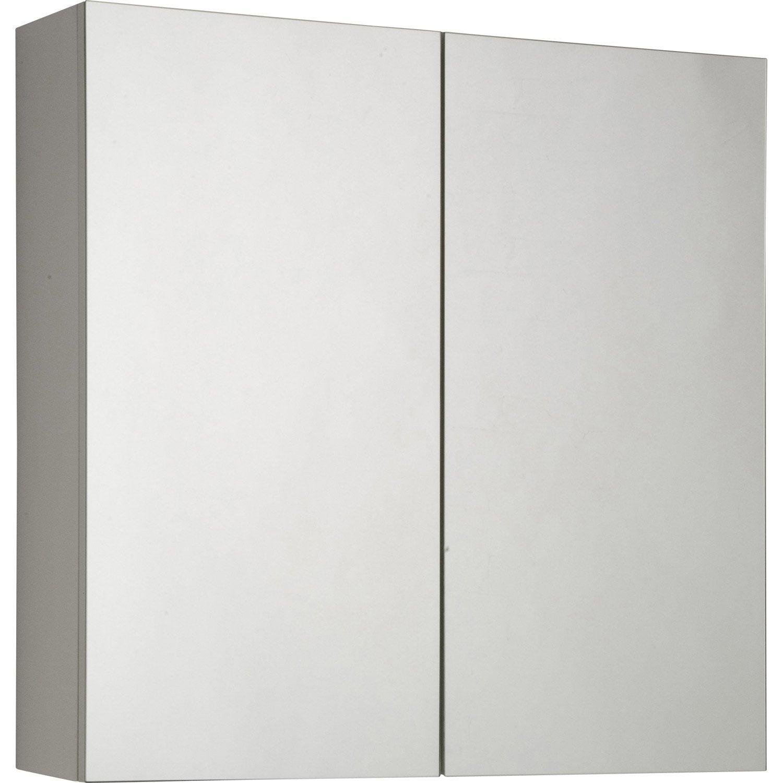 Armoire de toilette cm blanc modulo leroy merlin for Miroir 60 cm de large