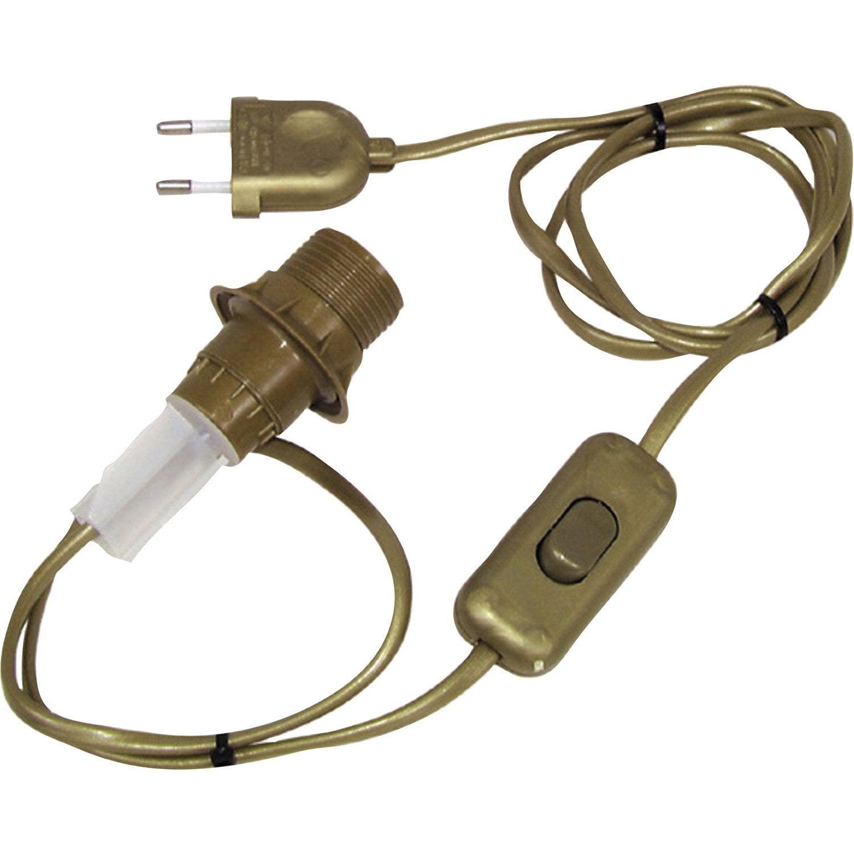 Adaptateur bouteille e14 tibelec plastique or 40 watts for Changer une douille de lampe