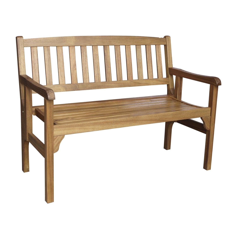 Banc 2 places de jardin en bois porto brun leroy merlin for Banc de jardin en bois pas cher