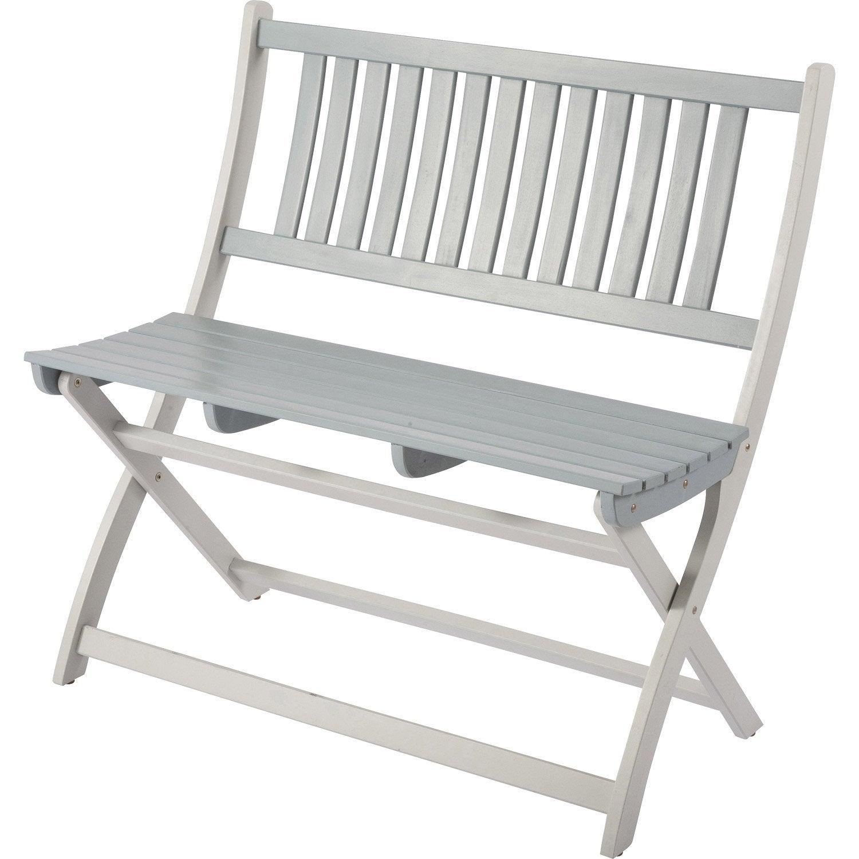 banc 2 places de jardin en bois burano gris leroy merlin. Black Bedroom Furniture Sets. Home Design Ideas