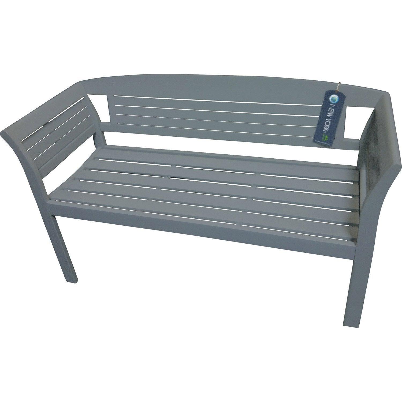 banc 2 places de jardin en bois new york gris leroy merlin. Black Bedroom Furniture Sets. Home Design Ideas