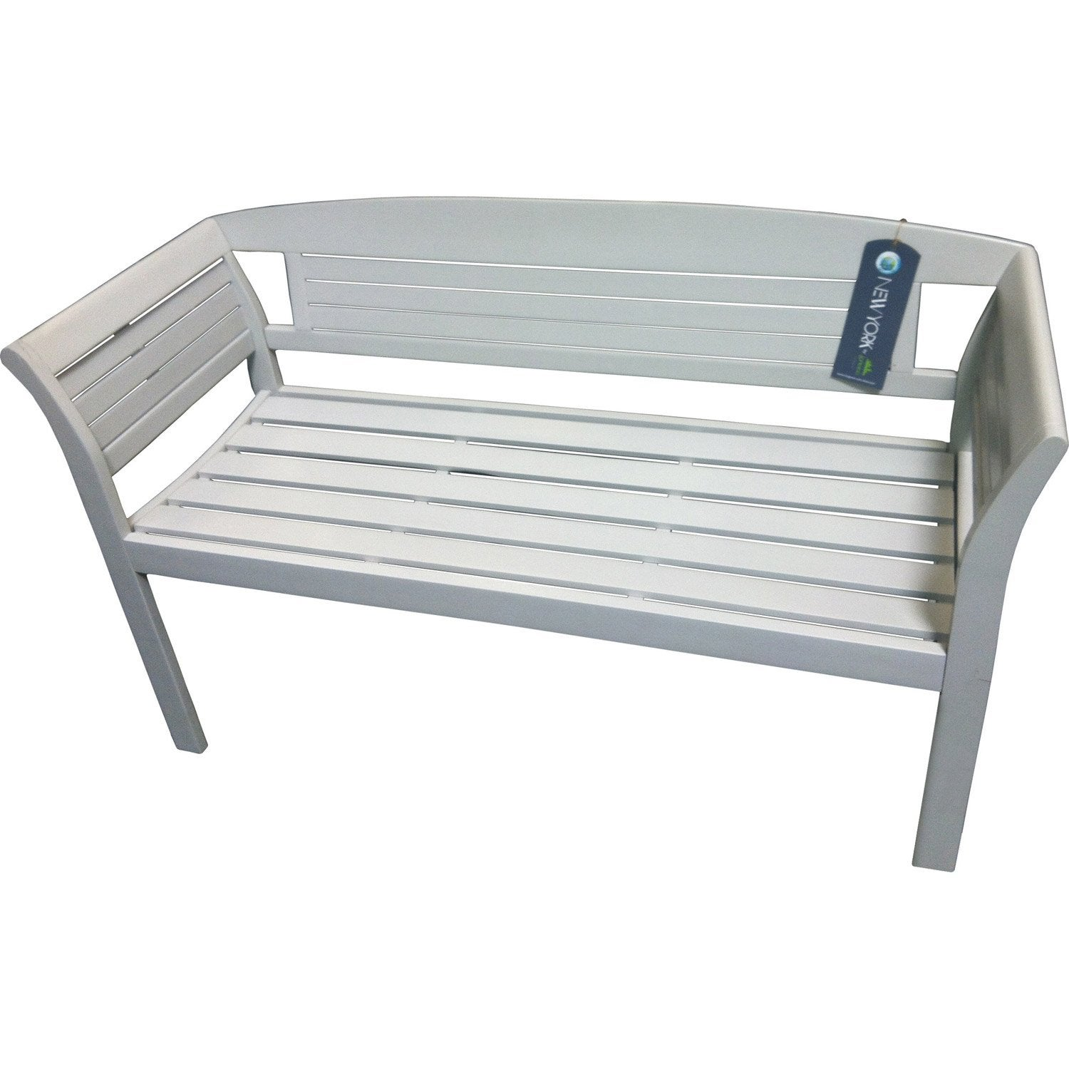 Banc 2 places de jardin en bois new york muscade leroy for Eclairage de jardin leroy merlin