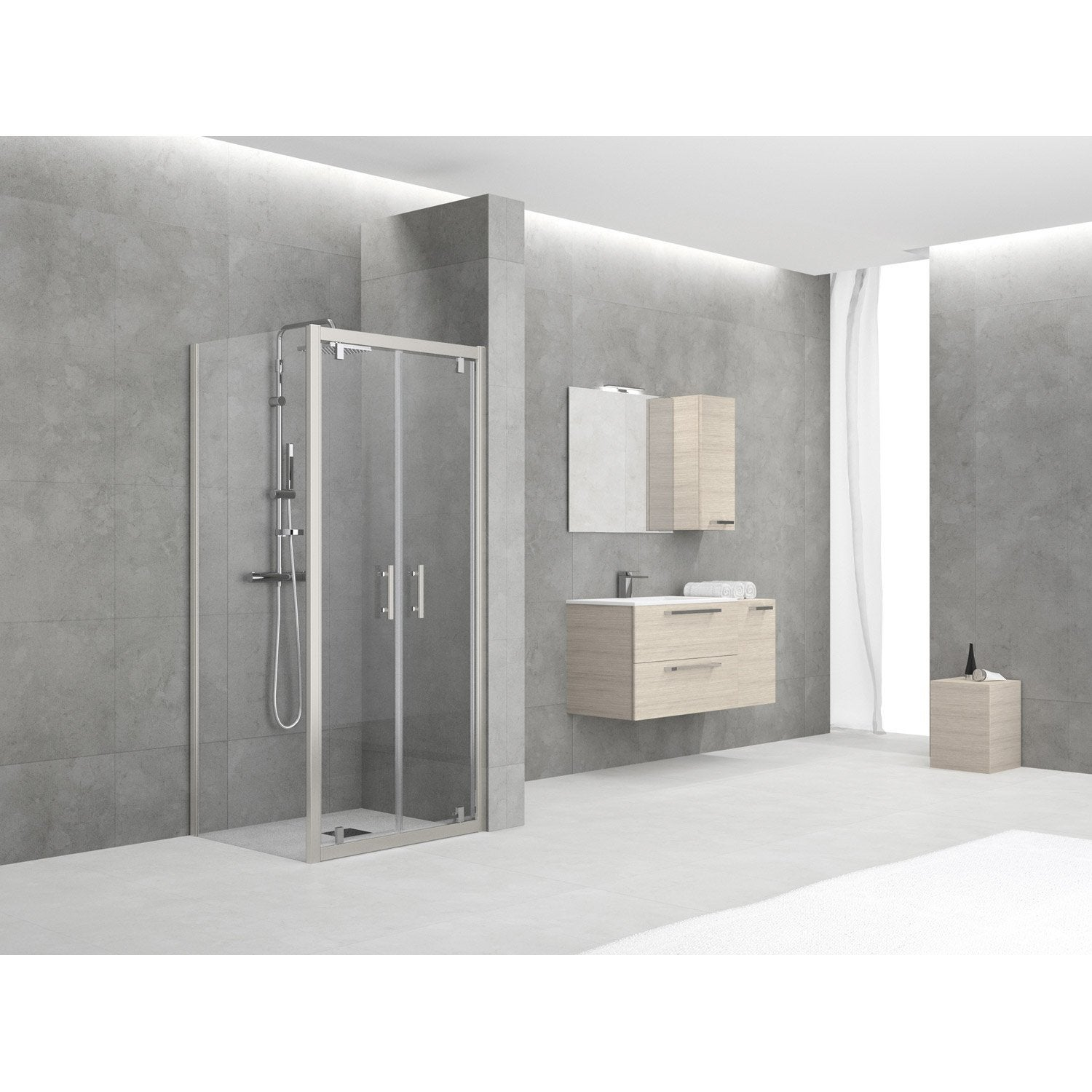 porte de douche battante 84 90 cm profil chrom elyt. Black Bedroom Furniture Sets. Home Design Ideas