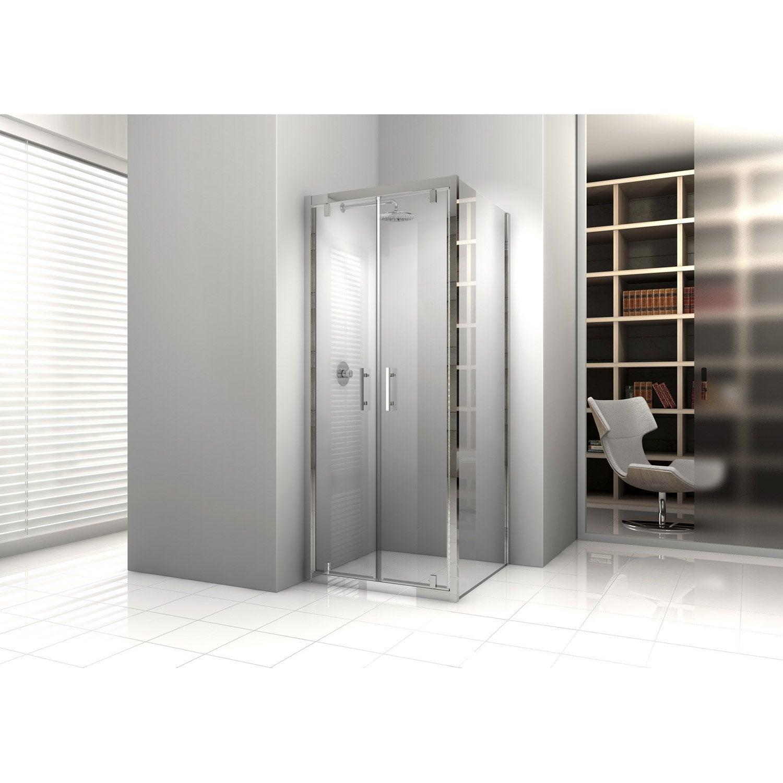 Porte de douche battante 84 90 cm profil chrom elyt - Porte de douche 90 cm ...