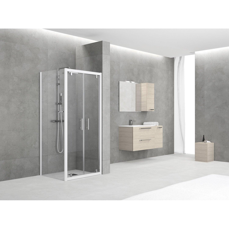 porte de douche battante 72 78 cm profil blanc elyt leroy merlin. Black Bedroom Furniture Sets. Home Design Ideas