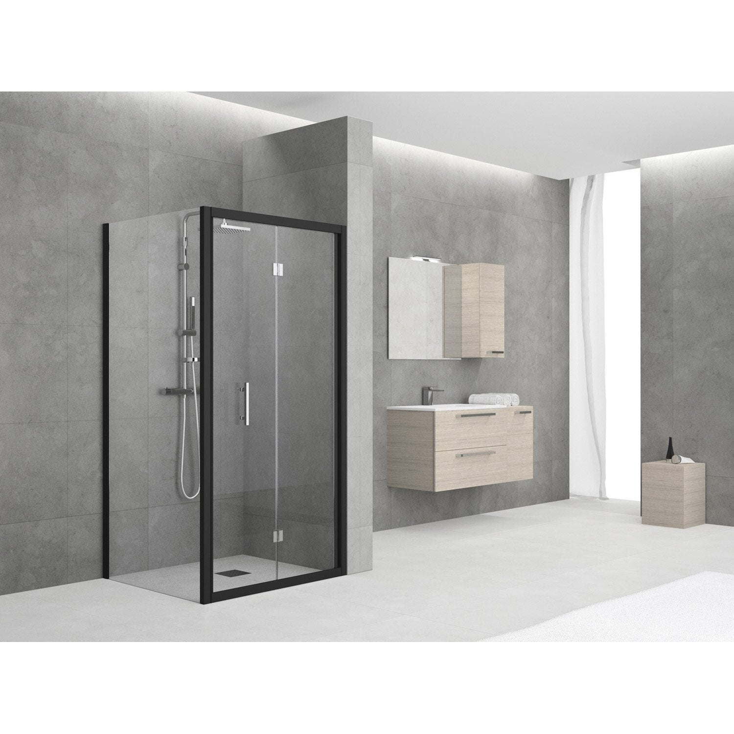 porte de douche pliante 96 102 cm profil noir elyt. Black Bedroom Furniture Sets. Home Design Ideas