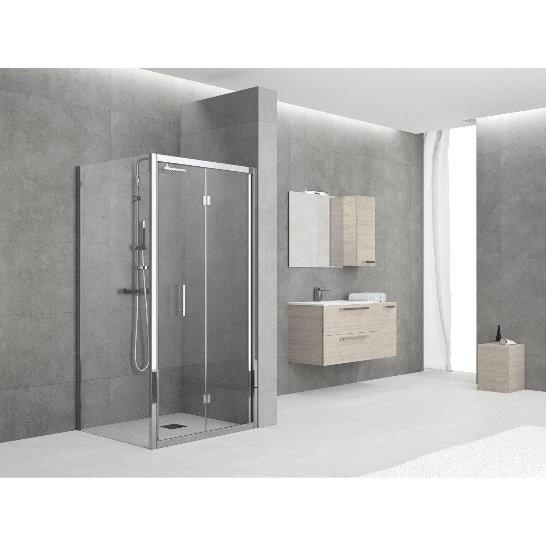 Porte de douche pliante 96 102 cm profil chrom elyt for Porte de douche pliante