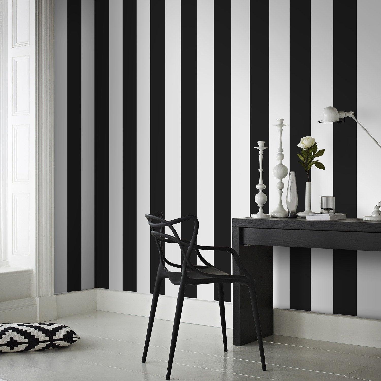 Papier peint intiss rayures noir leroy merlin for Salle de bain papier peint