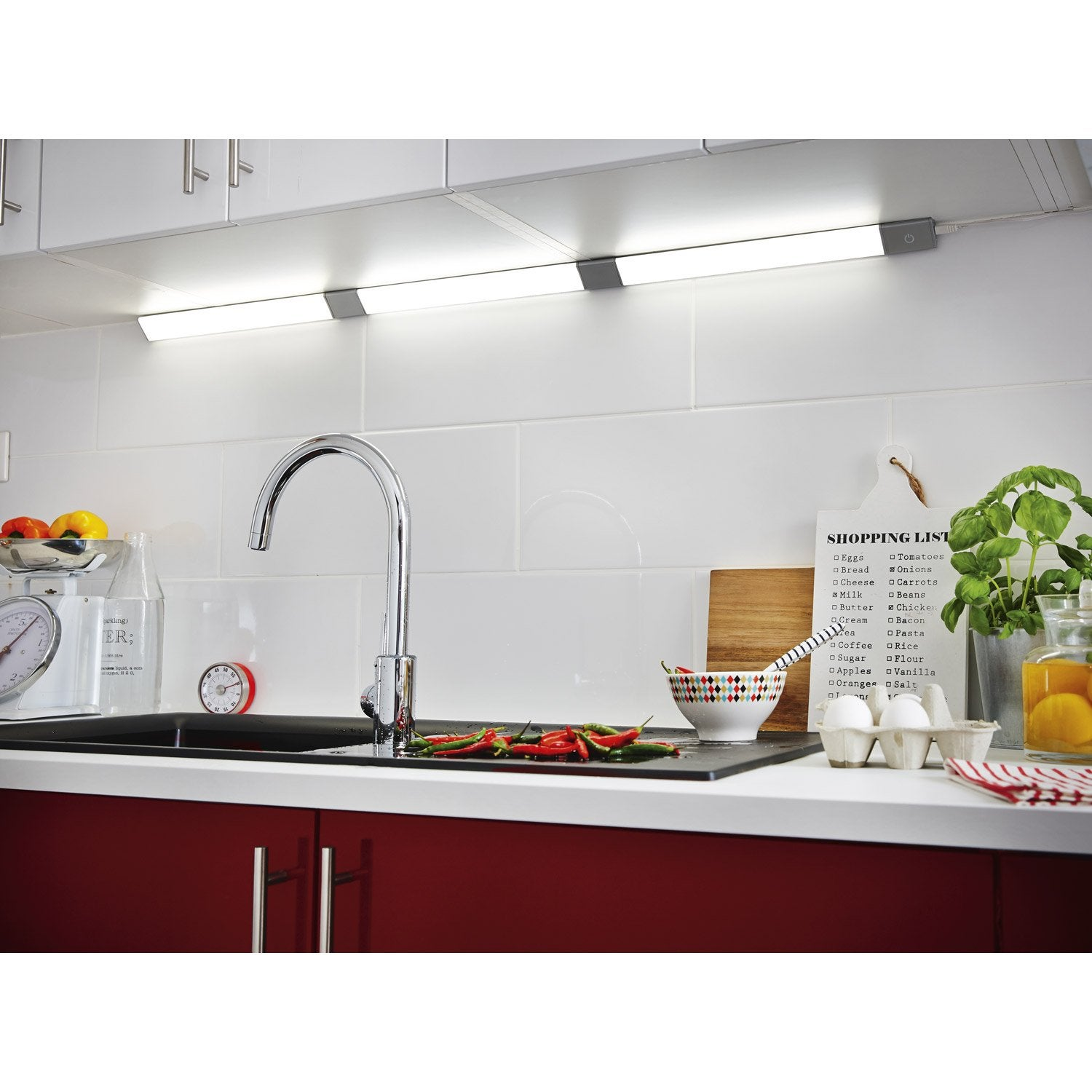 R glette rio led 1 x 6w led int gr e leroy merlin for Reglette led cuisine