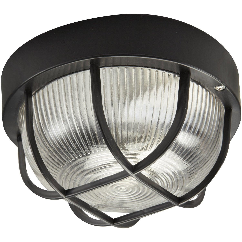 hublot prato inspire sans ampoule e27 noir leroy merlin. Black Bedroom Furniture Sets. Home Design Ideas