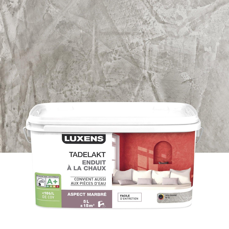 enduit d coratif tadelakt luxens gris poivr 5 5 l leroy merlin. Black Bedroom Furniture Sets. Home Design Ideas