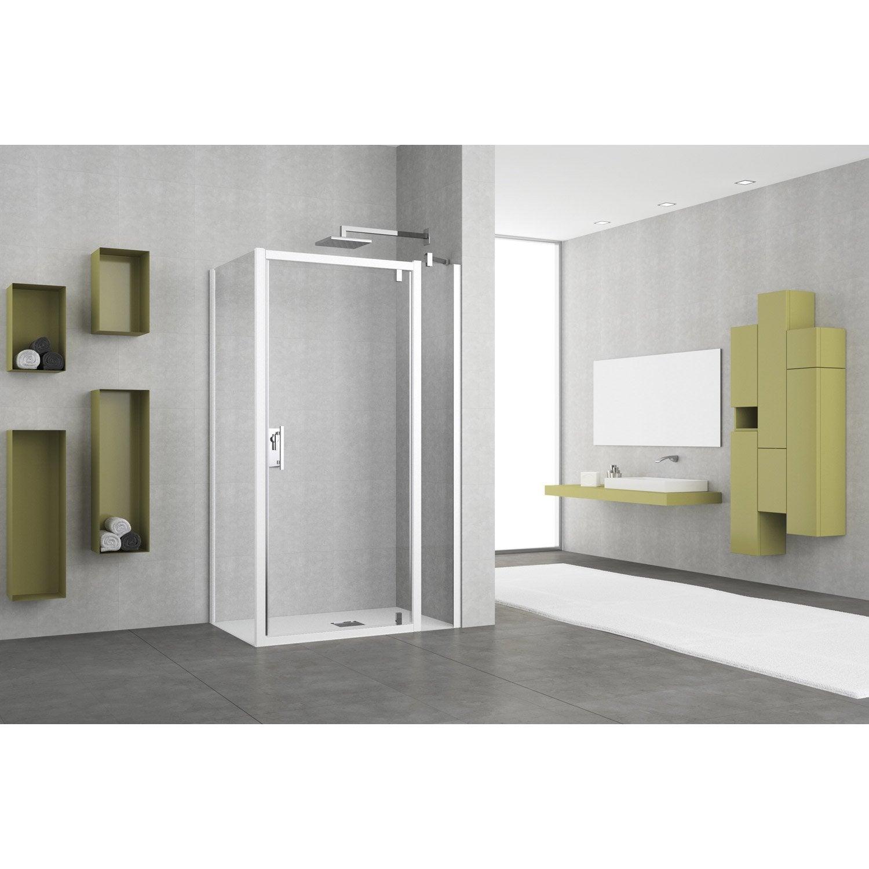Porte de douche pivotante 96 102 cm profil blanc elyt for Roulette de porte de douche leroy merlin