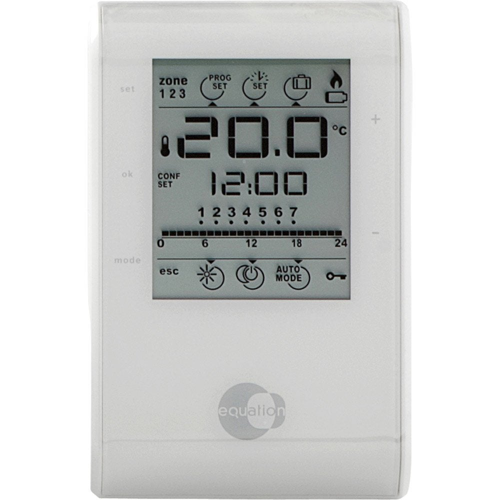 Thermostat d 39 ambiance filaire equation confort crono leroy merlin - Thermostat d ambiance programmable filaire ...