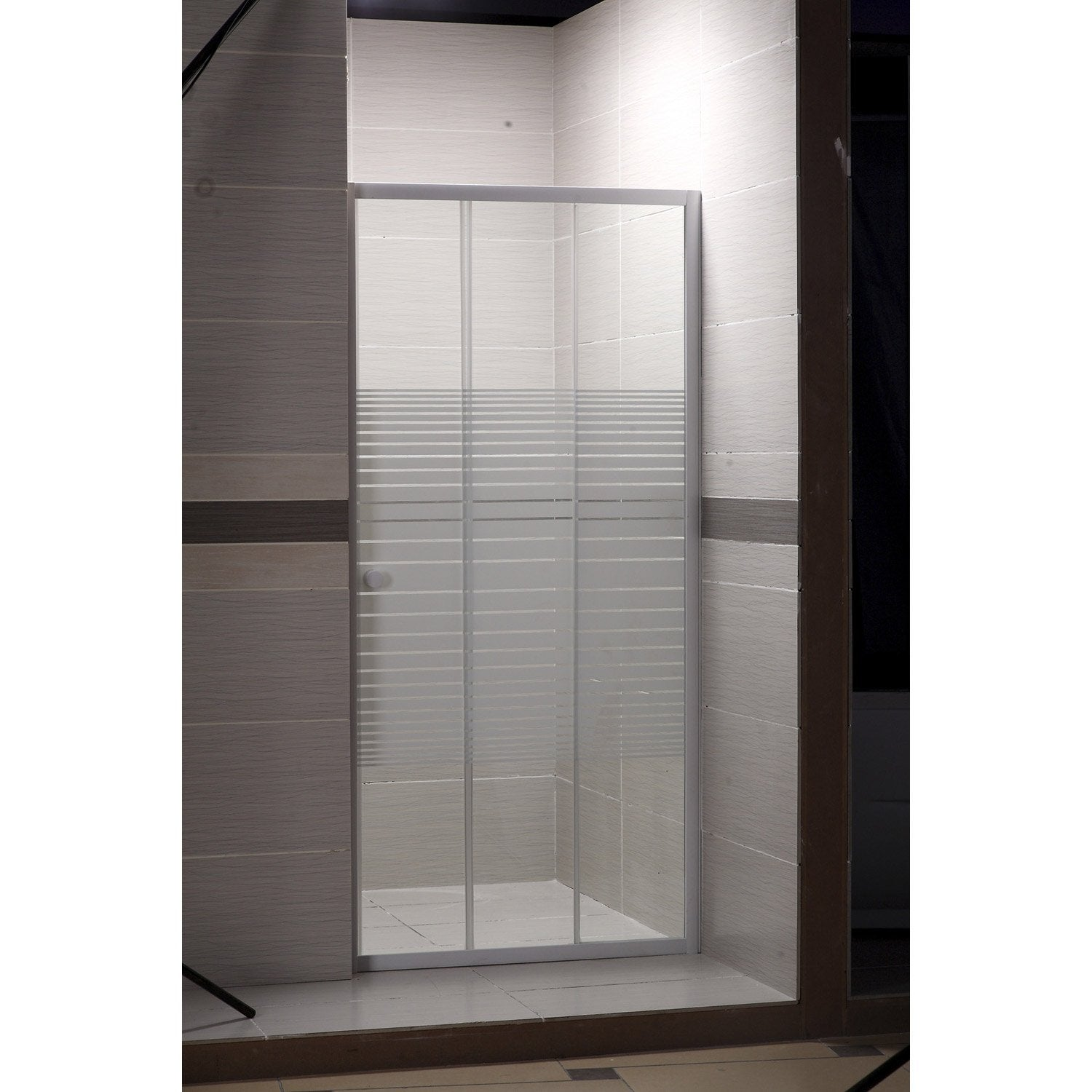 porte de douche coulissante 88 91 5 cm profil blanc primo leroy merlin. Black Bedroom Furniture Sets. Home Design Ideas