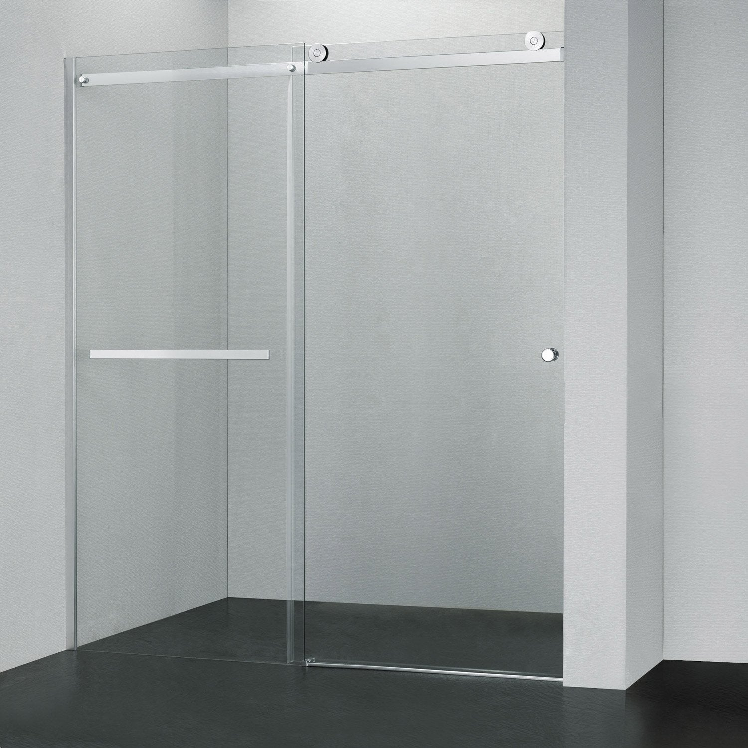 Porte de douche coulissante fabrik verre transparent for Porte verre douche