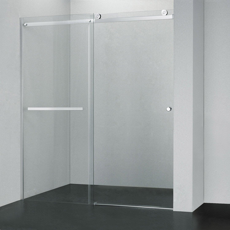 Porte de douche coulissante transparent fabrik leroy for Panneau de douche leroy merlin