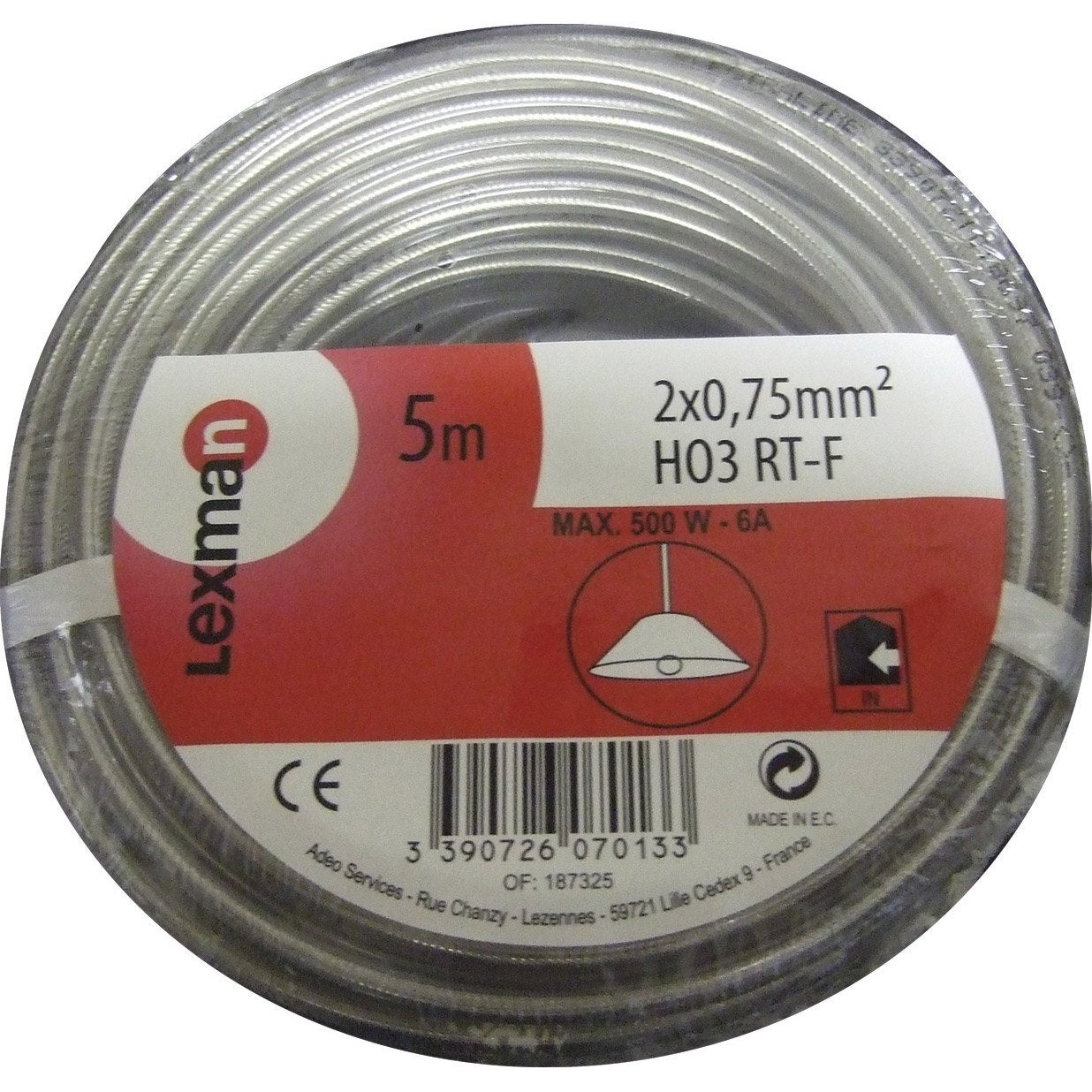 Fil lectrique transparent mm l 5 m leroy merlin for Cable electrique pour eclairage exterieur