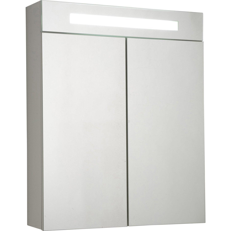 Armoire de toilette lumineuse l60 cm, blanc, Telio