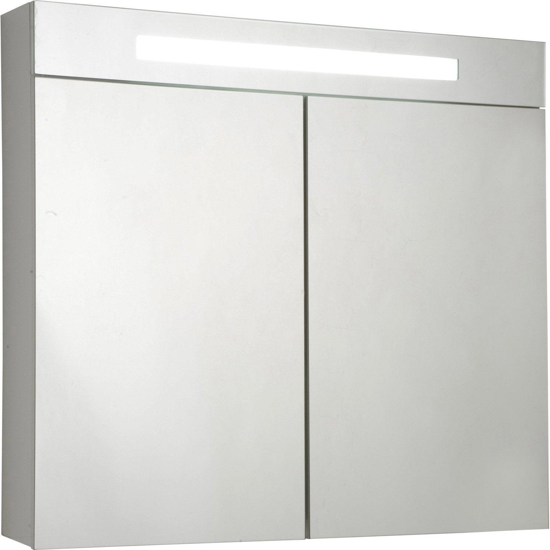 Armoire de toilette lumineuse telio sensea l 80 x h 75 x - Armoire de toilette castorama ...